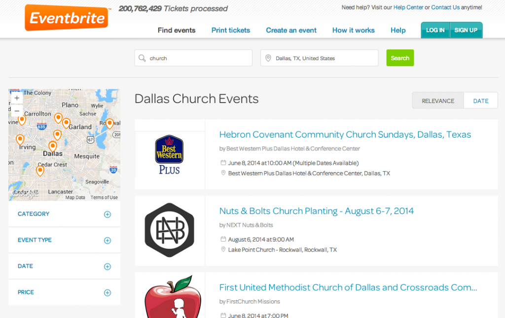 EventBrite Church Events Dallas TX