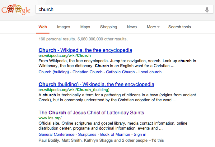 "LDS Church in a Feb 14, 2013 SERP for the keyword ""church"""